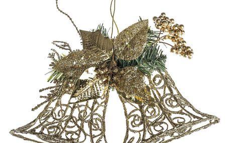 HTH Nástěnná dekorace zvony 30 cm, zlatá