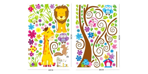 Samolepicí dekorace barevný les zvířat2