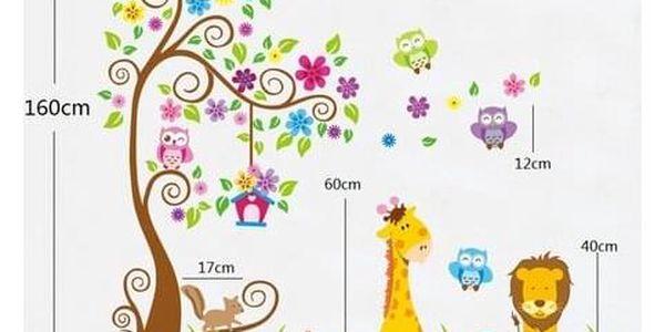 Samolepicí dekorace barevný les zvířat3