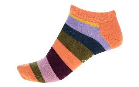 Oranžové dámské pruhované kotníkové ponožky Happy Socks Stripe