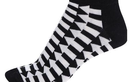 Černo-bílé pánské kotníkové ponožky s šipkami Happy Socks Direction