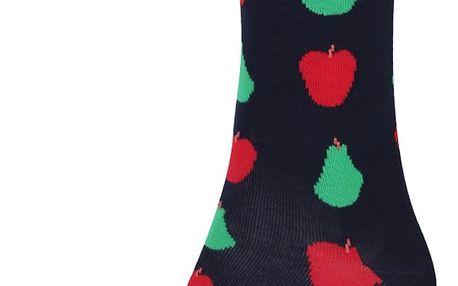 Tmavě modré unisex ponožky s hruškami a jablky Happy Socks Fruit