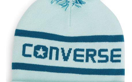 Converse mentolová čepice s bambulí Wordmark Pom Knit Mint Foam