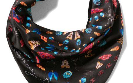 Desigual černý saténový šátek Winter Floral Peq
