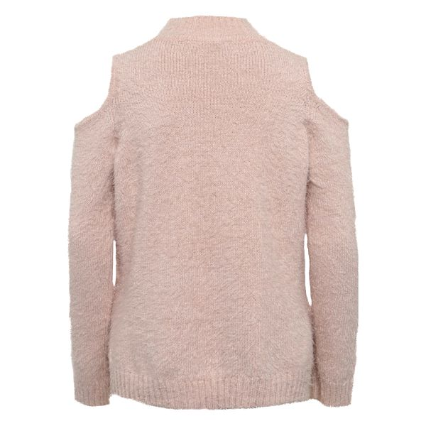 Světle růžový holčičí svetr s průstřihy na ramenou Blue Seven2