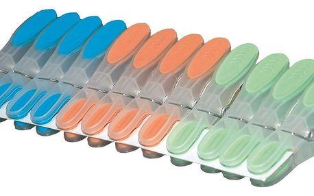 12dílná sada transparentních kolíčků s gumou