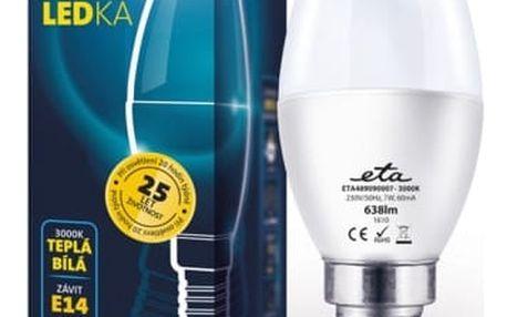 Žárovka LED ETA EKO LEDka svíčka, 7W, E14, teplá bílá (C37-PR-638-16A)