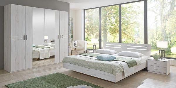 Susan - komplet, postel 180cm (bílý dub, chromové prvky) + SLEVA DPH v KOŠÍKU