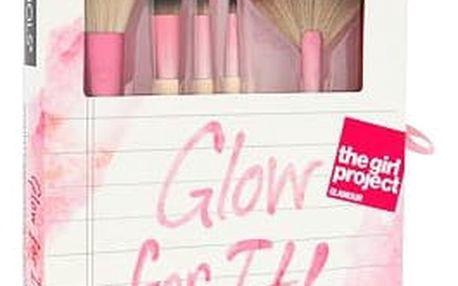 EcoTools Brushes Glow For It! štětec dárková sada W - štětec na korektor 1 ks + štětec na pudr 1 ks + štětec na rozjasňovač 1 ks + štětec na oční pigmenty 1 ks + štětec na rty 1 ks + zrcátko 1 ks