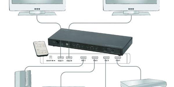 HDMI přepínač Digitus 4x2, maticový, podpora 4K + dálkové ovládání (DS-50304) černý3