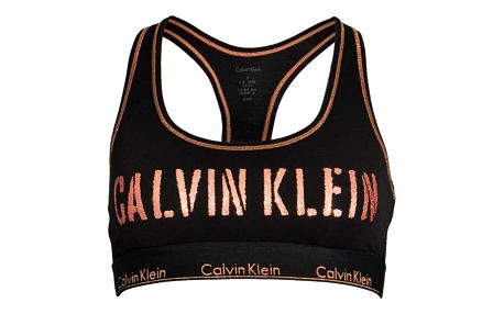 Calvin Klein černá podprsenka Bralette Unlined s bronzovými detaily