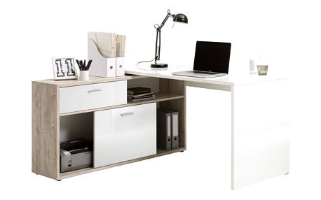 Pracovní stůl v dekoru dubového dřeva s bílými detaily 13Casa Dexter - doprava zdarma!