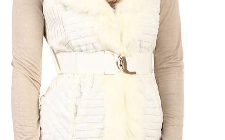 Dámská prošívaná vesta s páskem bílá