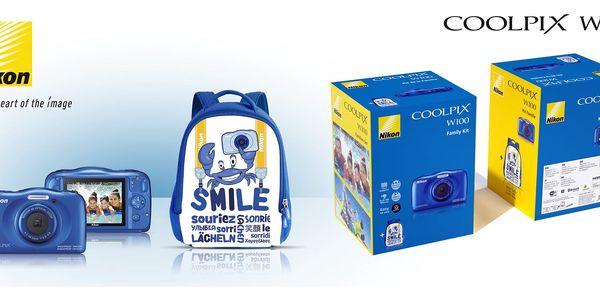 Digitální fotoaparát Nikon W100 BACKPACK KIT (VQA011K001) modrý2