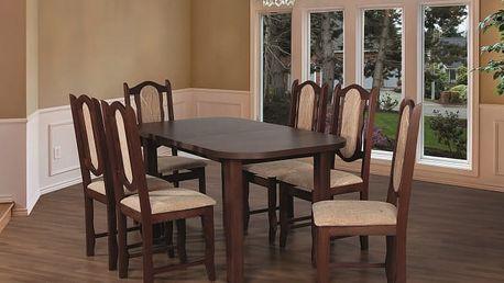 Jídelní set 27 - Stůl 150x80,6x židle (ořech střední/monako 2A)