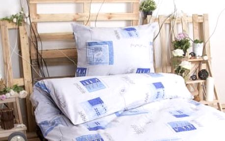 Dreaming Peacock Bavlněné povlečení na dvě lůžka ANETA - modrá 140x200, 70x90