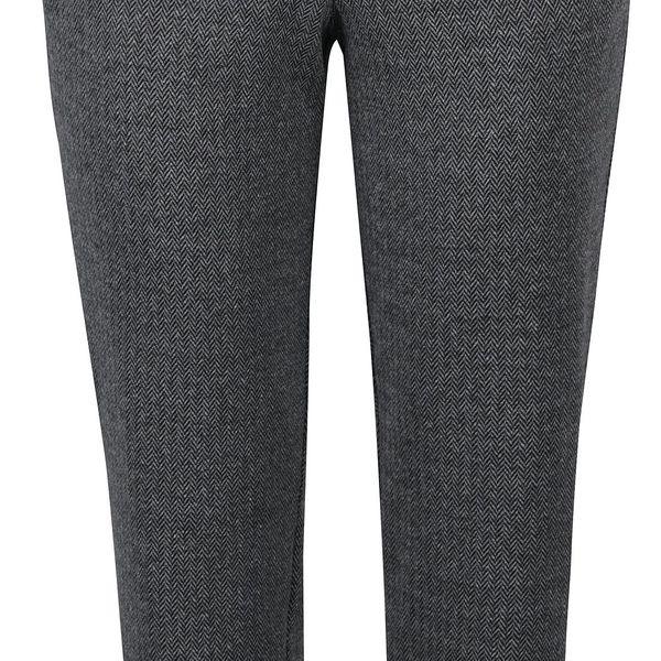 Tmavě šedé žíhané kalhoty s detaily Ulla Popken