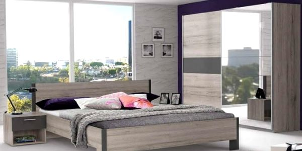 Adria 1 - Ložnice, postel 180 (šedá matná/dub pískový)