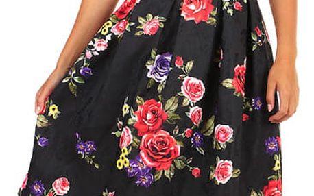 Áčková dámská sukně s květinovým vzorem černá