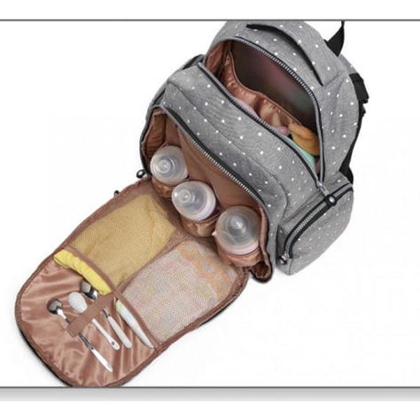 SET: Mateřský šedý batoh na kočárek Dario 6706D23