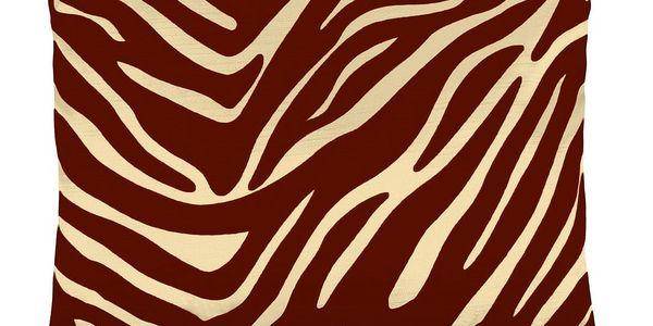Bellatex polštářek Leona - zebra vanilka, vínová, 45 x 45 cm