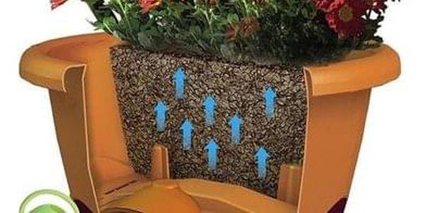 Samozavlažovací květináč Mareta 25 hnědá, závěsný Plastia2