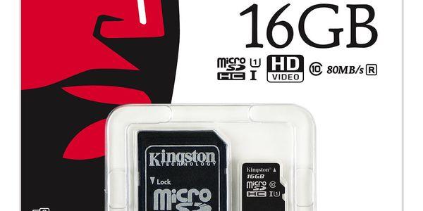 Paměťová karta Kingston MicroSDHC 16GB UHS-I U1 (80R/10W) + adapter (SDCS/16GB)5