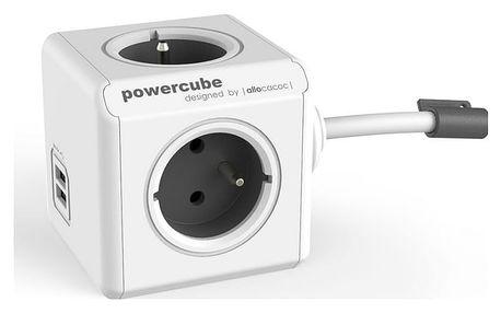 Kabel prodlužovací Powercube Extended USB, 4x zásuvka, 2x USB, 3m bílý
