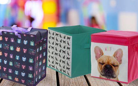 Látkové úložné boxy a tašky v několika motivech