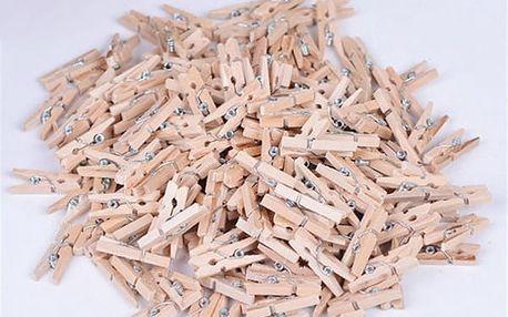 Dekorativní mini kolíček dřevěný - 100 ks