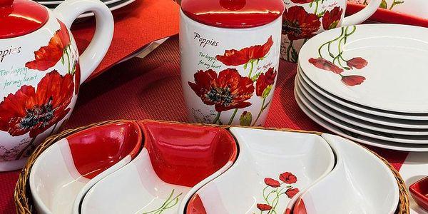 BANQUET Red Poppy servírovací misky v košíku 4 díly 601559RP3