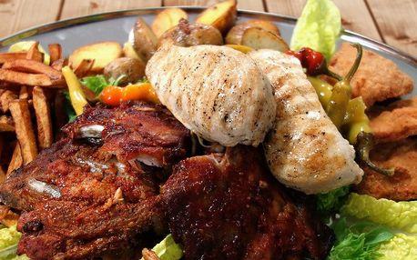 Plato pro 2 jedlíky: 600 g masa a 600 g příloh