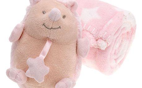 Emako Plyšák s dekou pro dítě - 75 x 100 cm, ježek