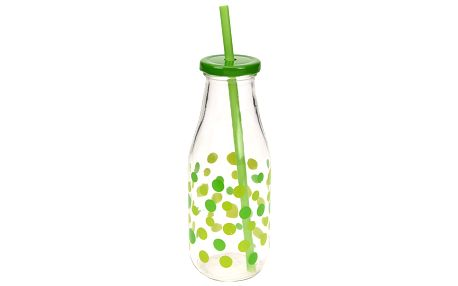 EH Excellent Houseware Orion Sklaněná láhev s víčkem a s brčkem Straw 450ml
