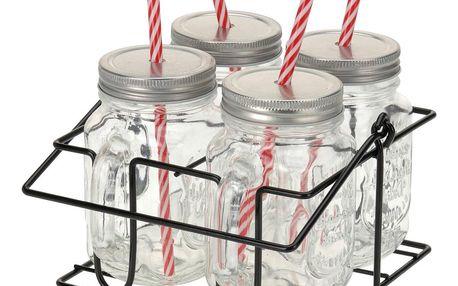 EH Excellent Houseware Skříňka na sklenice na nápoje 4x skelnice se slámkou, kovový stojan - sada na grilování, piknik, pláž