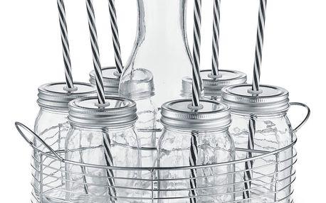 6x sklenice na nápoje + slámka, karafa - sada na grilování, piknik, pláž, ZELLER