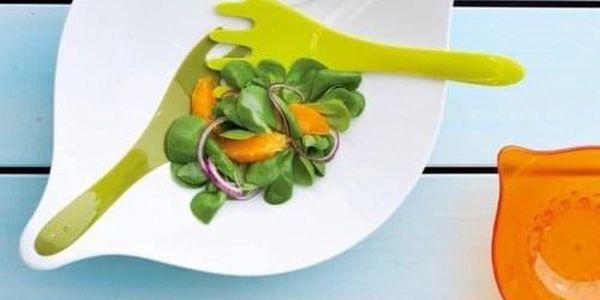Salátová mísa s příbory LEAF L - olivová barva, KOZIOL2