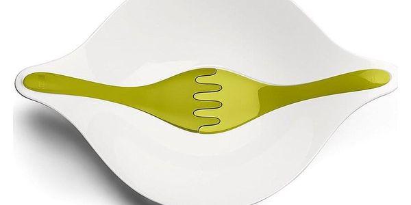 Salátová mísa s příbory LEAF L - olivová barva, KOZIOL3