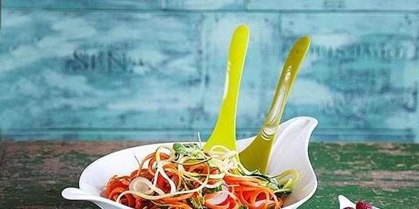 Salátová mísa s příbory LEAF L - olivová barva, KOZIOL5