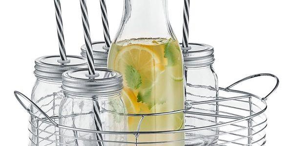 6x sklenice na nápoje + slámka, karafa - sada na grilování, piknik, pláž, ZELLER2