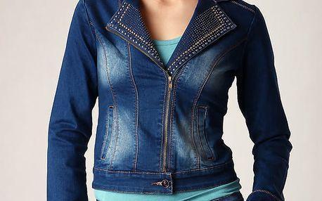 Džínová dámská bunda s cvočky modrá