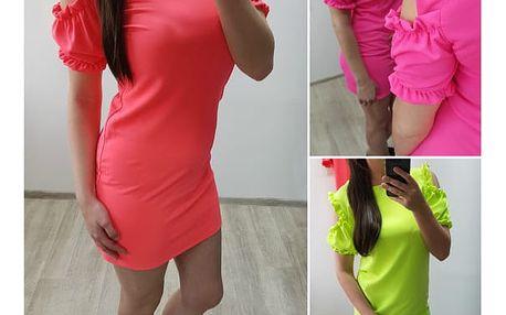 Neonové šaty s volánky na ramenou Rina