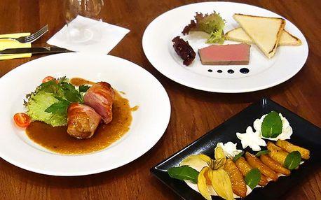 3chodové menu pro dva: paštika, panenka a dezert