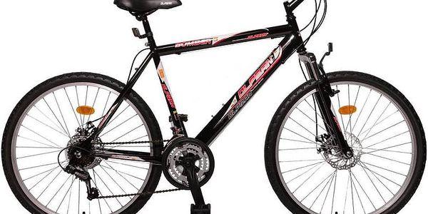 """Horské kolo Olpran Bomber Sus Full disc 26"""" černé/červené Sada cyklodoplňků (zvonek+blikačka+světlo) pro kolo dospělé (zdarma) + Doprava zdarma2"""