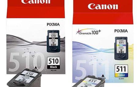 Inkoustová náplň Canon PG-510 / CL-511, 9ml - originální černá/červená/modrá/žlutá (2970B010)