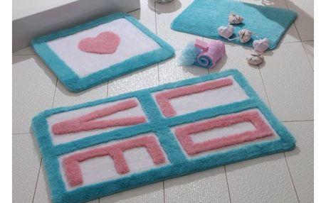 Sada 3 koupelnových předložek Alessia Love Turquoise
