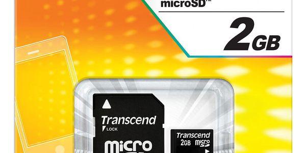 Paměťová karta Transcend 2GB + adapter (TS2GUSD) černá2