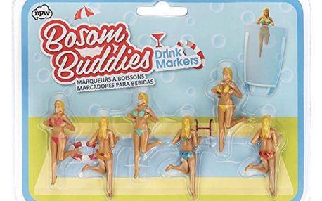Sada 6 rozlišovačů na sklenice npw™ Bosom Buddies Drink Markers