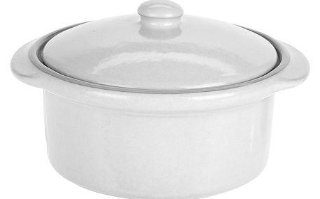Keramický hrnec s poklicí, ohnivzdorné nádobí, barva bílá Emako