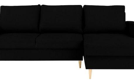 Černá rohová rozkládací pohovka s lenoškou na pravé straně Mazzini Sofas Iris - doprava zdarma!